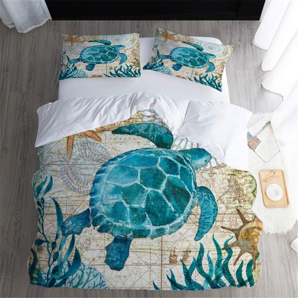 Ksainiy Nordic Home Creative Marine Bedding Home Textile Seaweed Turtle Four-Piece Set of Four Seasons Universal Health Formaldehyde-Free Water Wash Can Not Afford The Ball Easy to Clean by Ksainiy