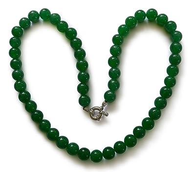 Vifaleno Collier bijoux de pierre gemme, jade, jade Malaisie, naturel, rond, f7d06bea8105