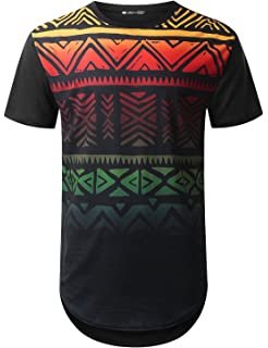 658dfae08 URBANTOPS Mens Hipster Hip Hop Graphic Aztec Longline T-Shirt (Various  Styles)