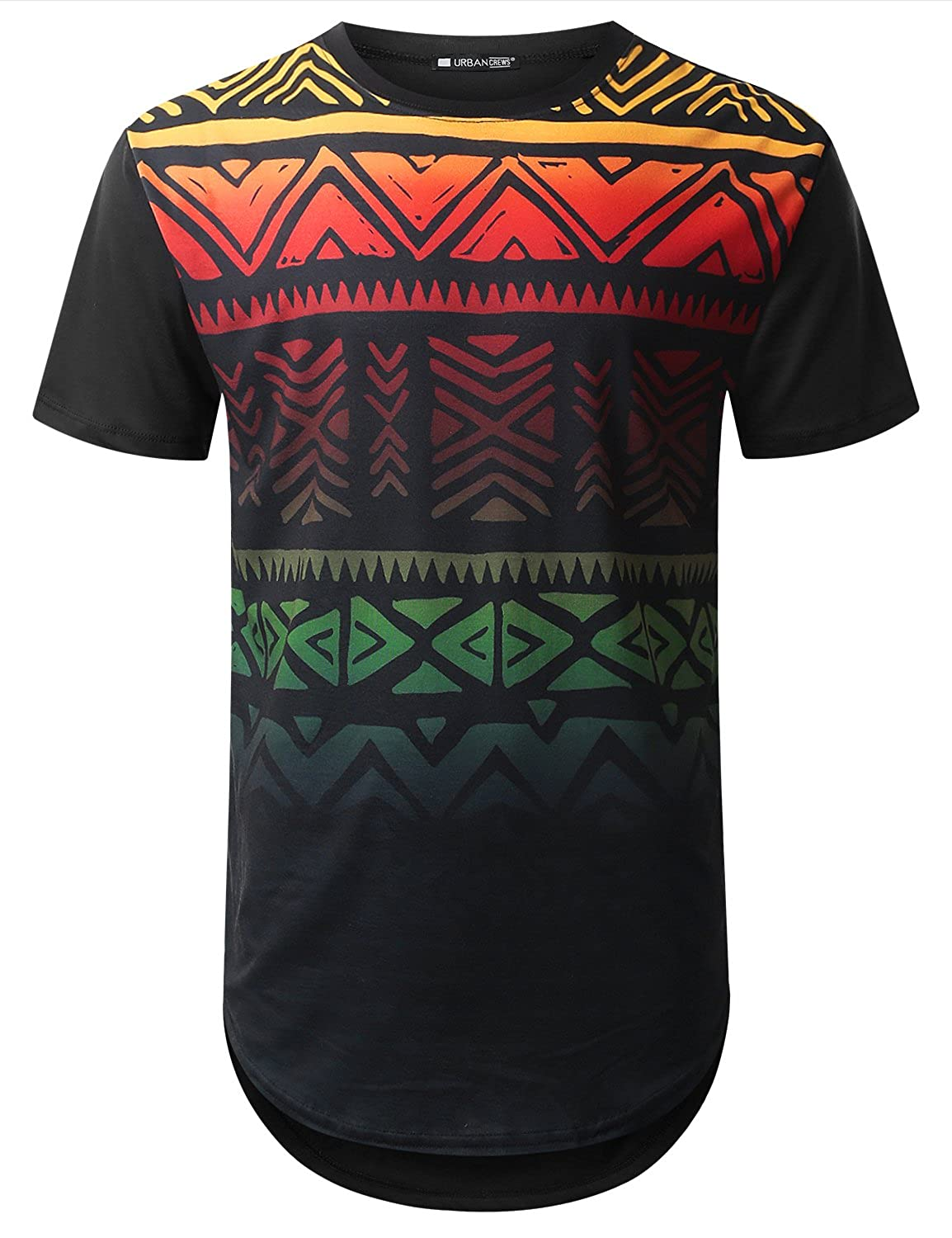 8be26d4f3 *Please Check the Materials On The Size Chart Image* Machine Wash Cold with  Like Colors Graphic Aztec Print Longline Crewneck T-shirt. Longer Length