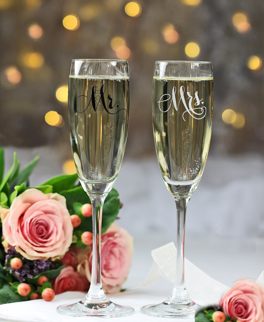 All Things Weddings, Mr. and Mrs. Wedding Glass Champagne Toasting Flutes, Reception or Engagement Bride and Groom Glasses, Set of 2 by All Things Weddings (Image #6)