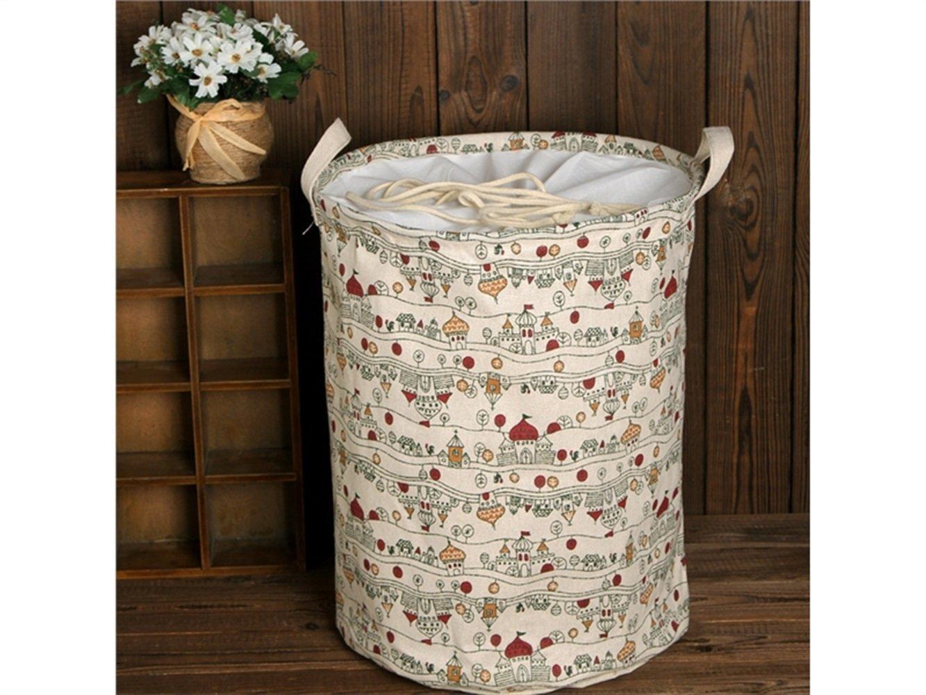 Gelaiken Lightweight Pattern Storage Basket Pattern Storage Bag Cotton Storage Box Sundries Storage Bucket(White)