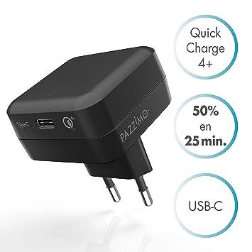 PAZZiMO Cargador USB Tipo C Negro, Ligero y Adaptable ...