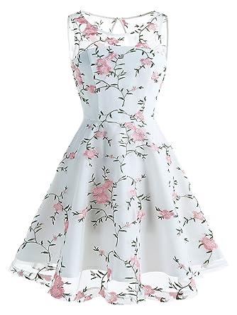 420b5045eaa0f IVNIS Elégant Robe de soirée Bal Femme Courte Rétro Robe Vintage avec  Broderie Floral Robe