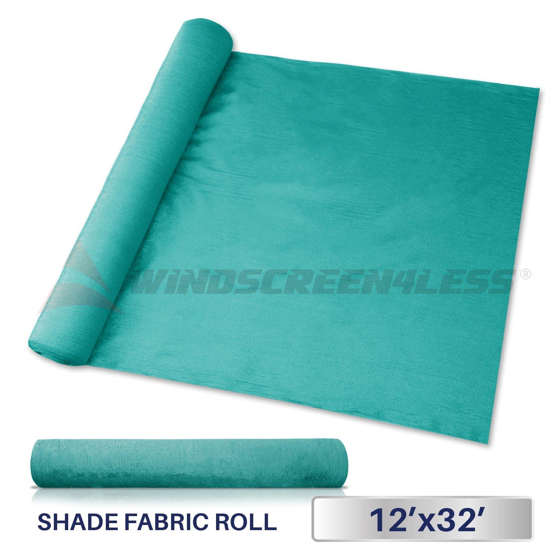 Windscreen4less Turquoise Green Sunblock Shade Cloth,95% UV Block Shade Fabric Roll 12ft x 32ft