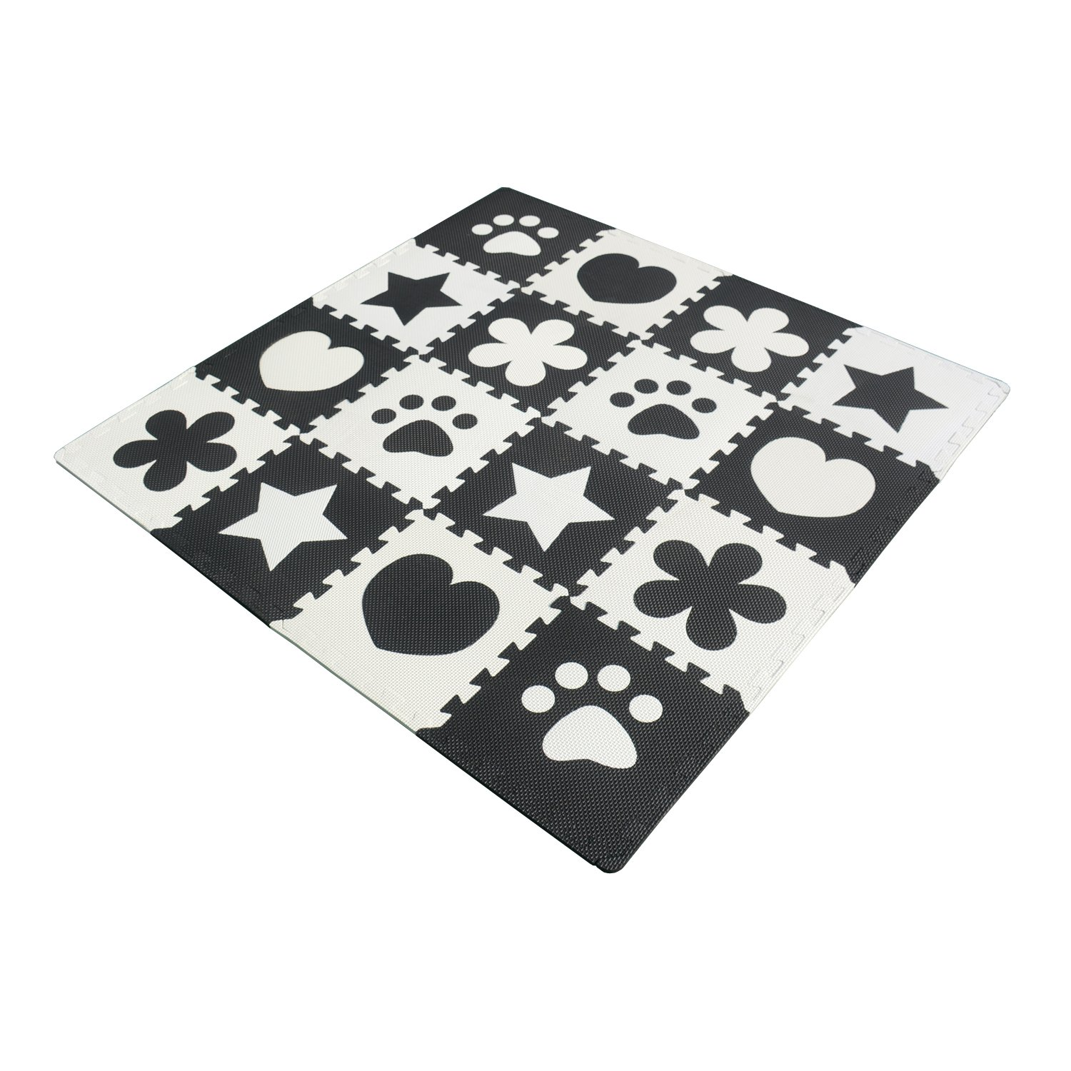 Menu Life 10pcs Black and White Children Kids Baby Soft EVA Foam Activity Play Mat Playroom Floor Tiles Pop-out Jigsaw Puzzle Mat (Black and White Multi) Bai Ling Black&White