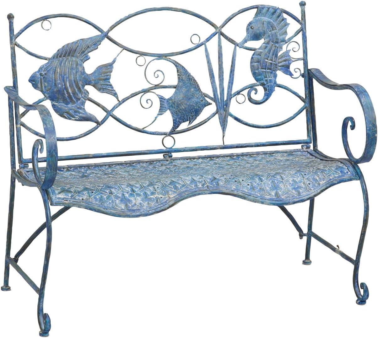 Cape Craftsmen Blue Fish Outdoor Safe Metal Bench