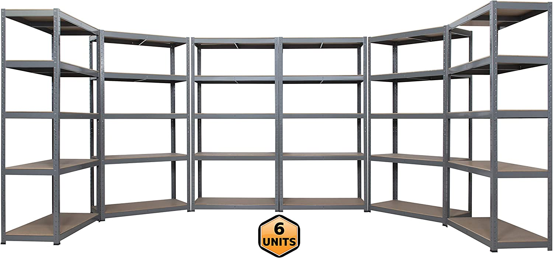 6 unidades de estantería de 5 niveles extra resistente sin tornillos (garaje, cobertizo, almacenamiento, oficina), 180 x 90 x 45 cm, mejor en Amazon: Amazon.es: Bricolaje y herramientas