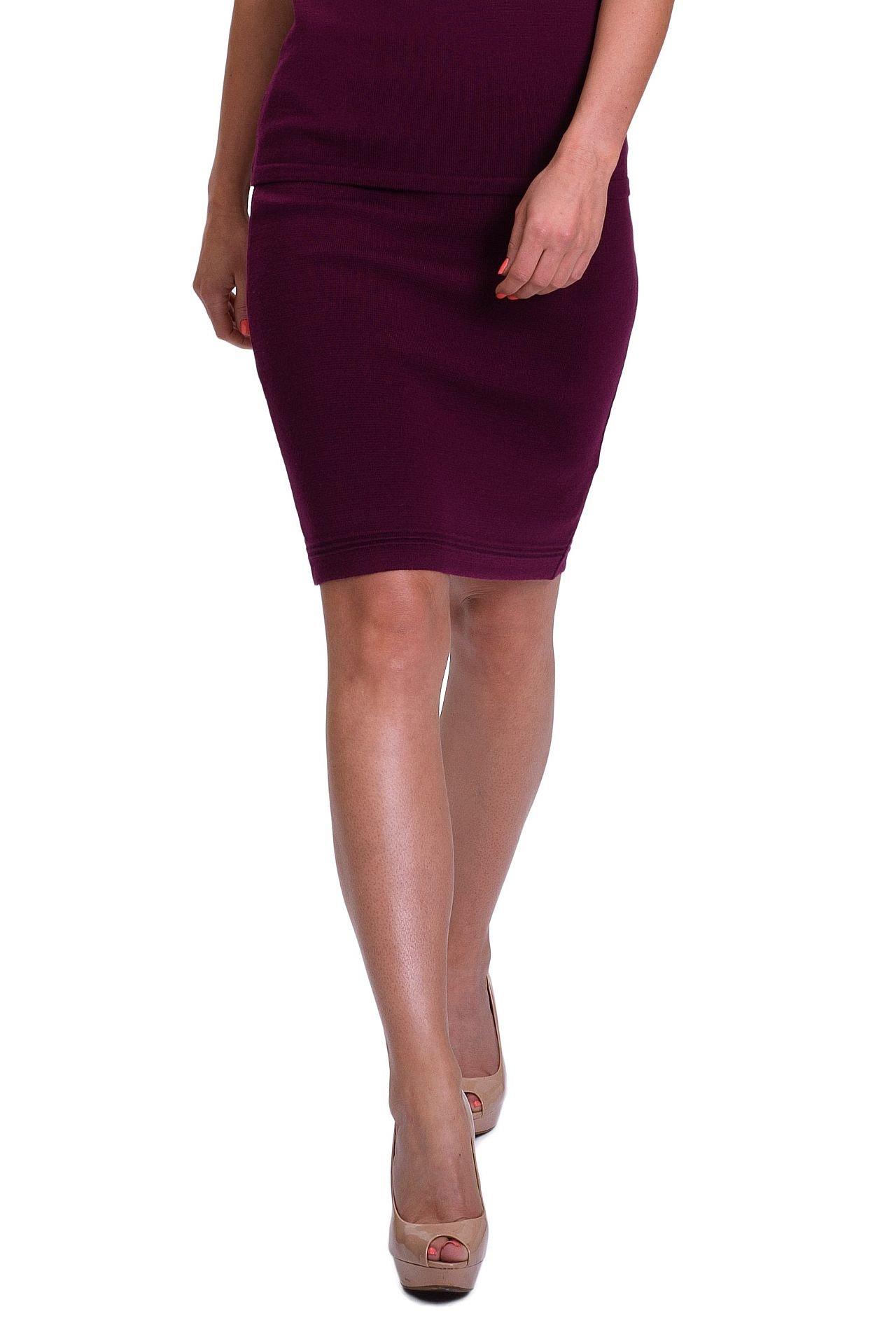 KNITTONS Women's 100% Italian Merino Wool High Waisted Wool Pencil Skirt (S, Burgundy)