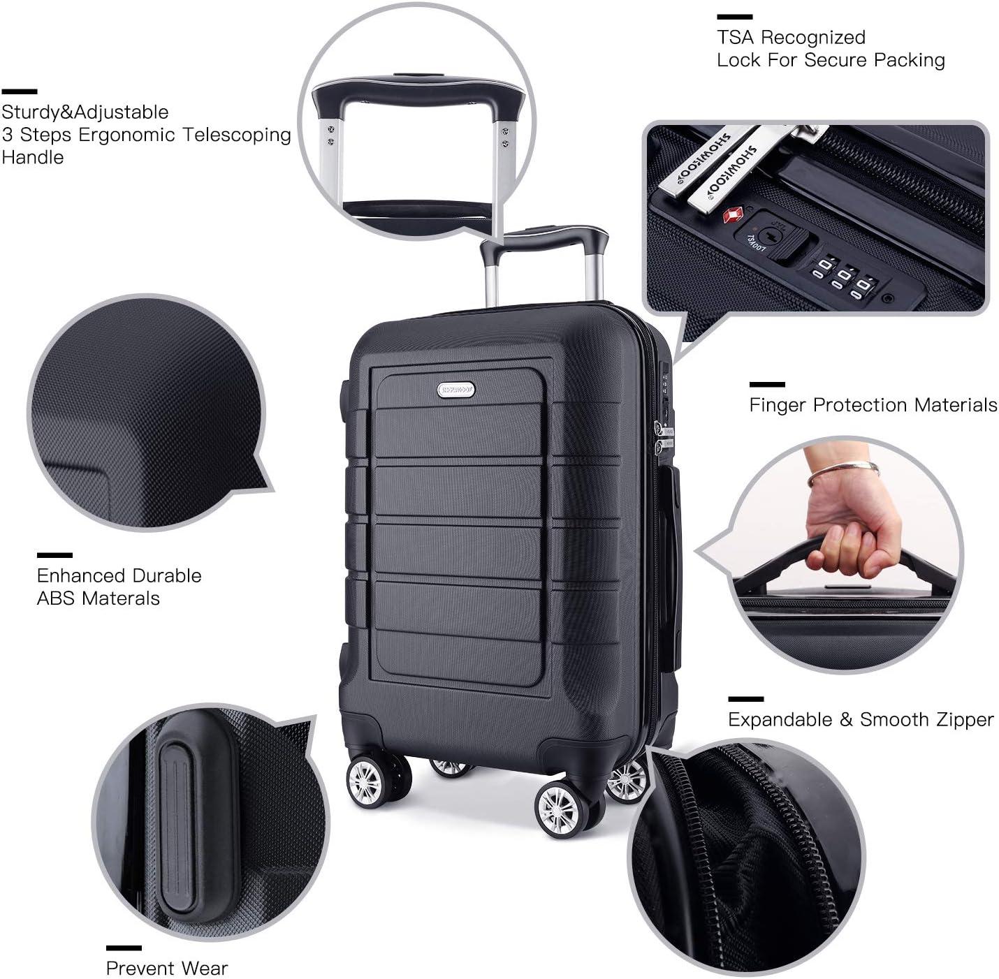SHOWKOO Luggage Sets Expandable PC ABS Durable Suitcase Double Wheels TSA Lock 3pcs Black