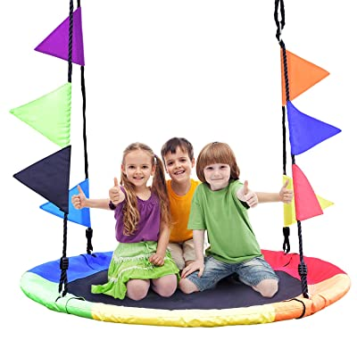 NSdirect 40'' Tree Swing ,700lb Flying Saucer Swing with Steel Frame and Large Round Swing Set Easy Install with 2 Hanging Straps and Coloured Flags.: Toys & Games