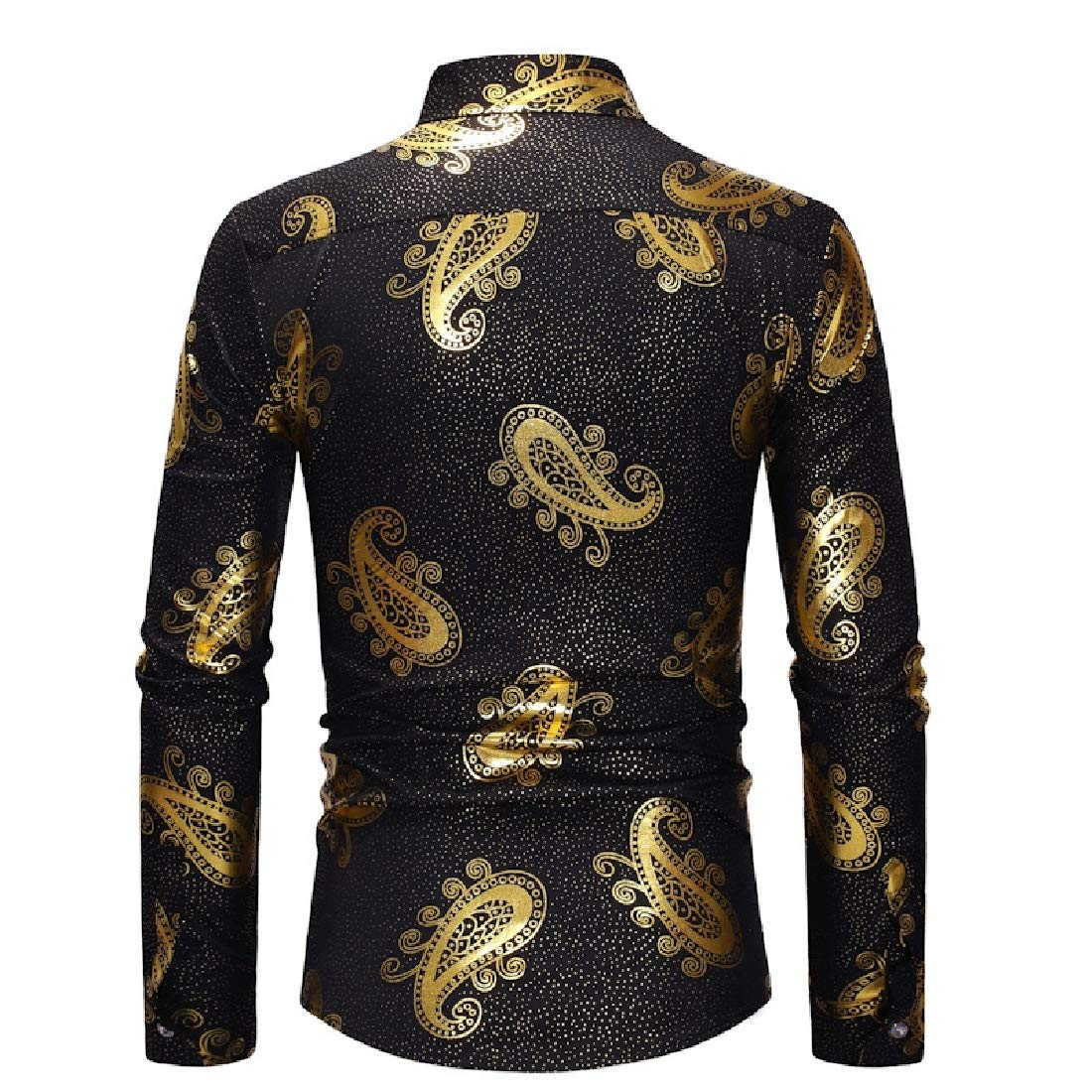 Kankanluck Men Luxury Unique Style Long Sleeve Paisley Casual Shirts