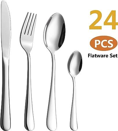 24 pcs haute qualité élégant acier inoxydable Couverts Set Table Ustensiles