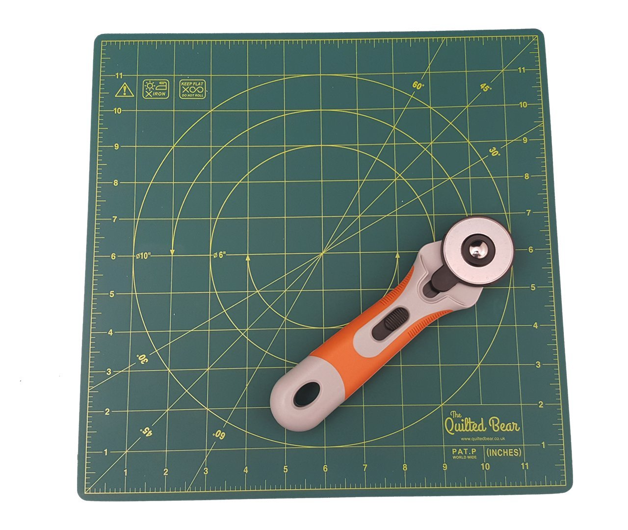 DAFA 360° Rotating Self Healing Cutting Mat 12 x 12 Includes a Quilted Bear Rotary Cutter