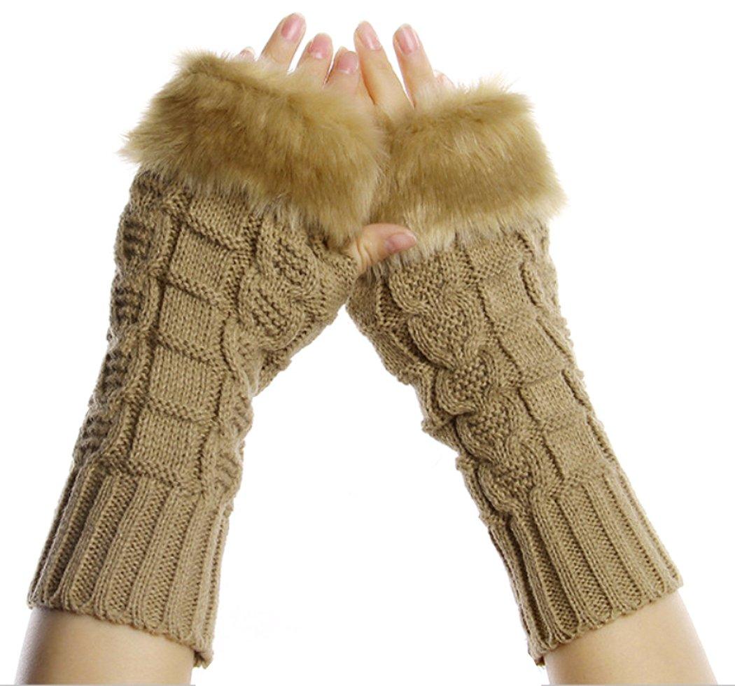 PRESKIN – Stylishe Stulpen-Handschuhe, Cool – aber warm, Strick-Design mit kuscheligem Kaninchen-Fell Optik, mehr Fingerspitzengefühl für's Smartphone, Navi, Tablet Cool – aber warm CuddlyGloveSand