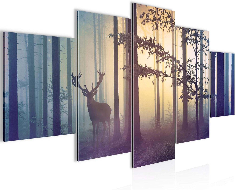 decoración de la mesa bosque mural en la niebla - 200 x 100 cm Vista de impresión en lienzo Salón Apartamento - listo para colgar - 013451a