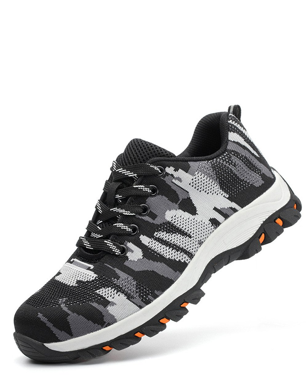 Work Women's Men's Steel Toe Slip Resistant Safety Shoes Lightweight Industrial & Construction Shoe (US 9 B(M) /6.5 D(M), Grey Camouflage)