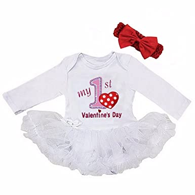 5cabb76bf21 Amazon.com: G&G - Cute 2pc White My First Valentines Day Baby Girl ...