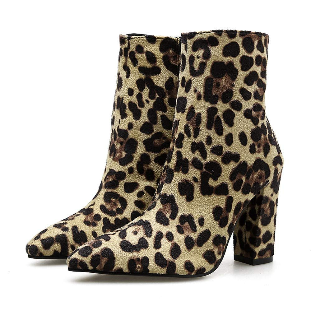 233a3bfa3c Amazon.com: Women Snakeskin High Chunky Heel Boots,Cenglings Leopard Print  Pointed Toe Zipper Ankle Boots Pumps Slim Party Shoes: Clothing