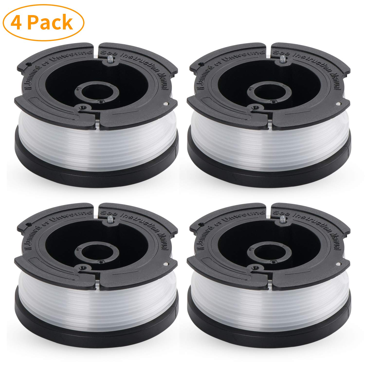 MUDNRRY 4-Pack Line String Trimmer Replacement Spool for Black and Decker AF-100 Autofeed Weed Eater Spool 30 Feet/0.065 Inches