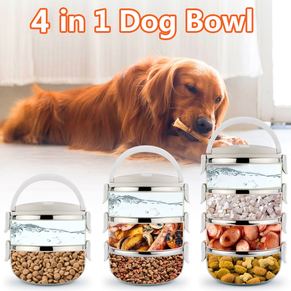 Spill Proof Dog Cat Travel Bowl Portable 304 Stainless Steel Multiple Layers Pet Water Food Storage Container with Invisible Handle for Pet Outdoor Traveling Raised Feeding (4 Layer) by YOUTHINK (Image #6)
