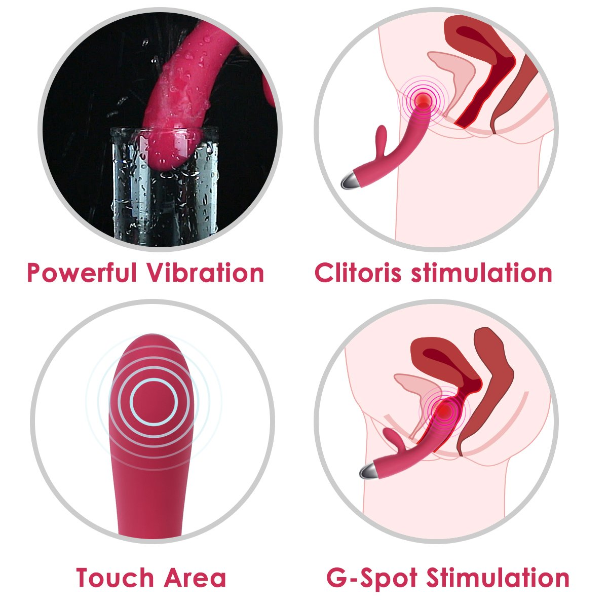SVAKOM Lorna Touch Sensor Waterproof Rabbit Vibrator G-spot Clitoral Stimulators Dildos Wand Massagers for Women (Color Random)