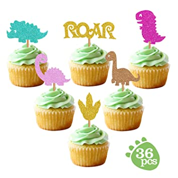 Baby Dinosaur Cupcake Toppers Glitter Dinosaur Cupcake Toppers For