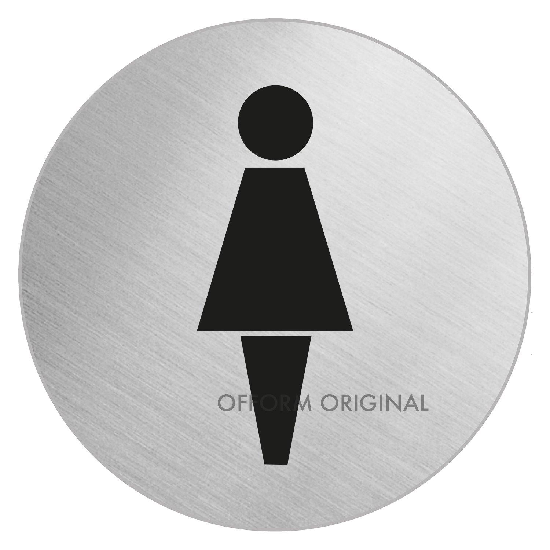 OFFORM Señal pictograma en acero inox Ø 100mm 'Baño Mujeres' No.7705