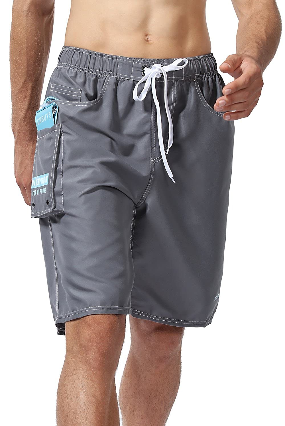 dbe4afc25b ICNBUYS Swim Trunks Beach Trunks with Waterproof Phone Pouch Pocket Grey Quick  Dry | Amazon.com