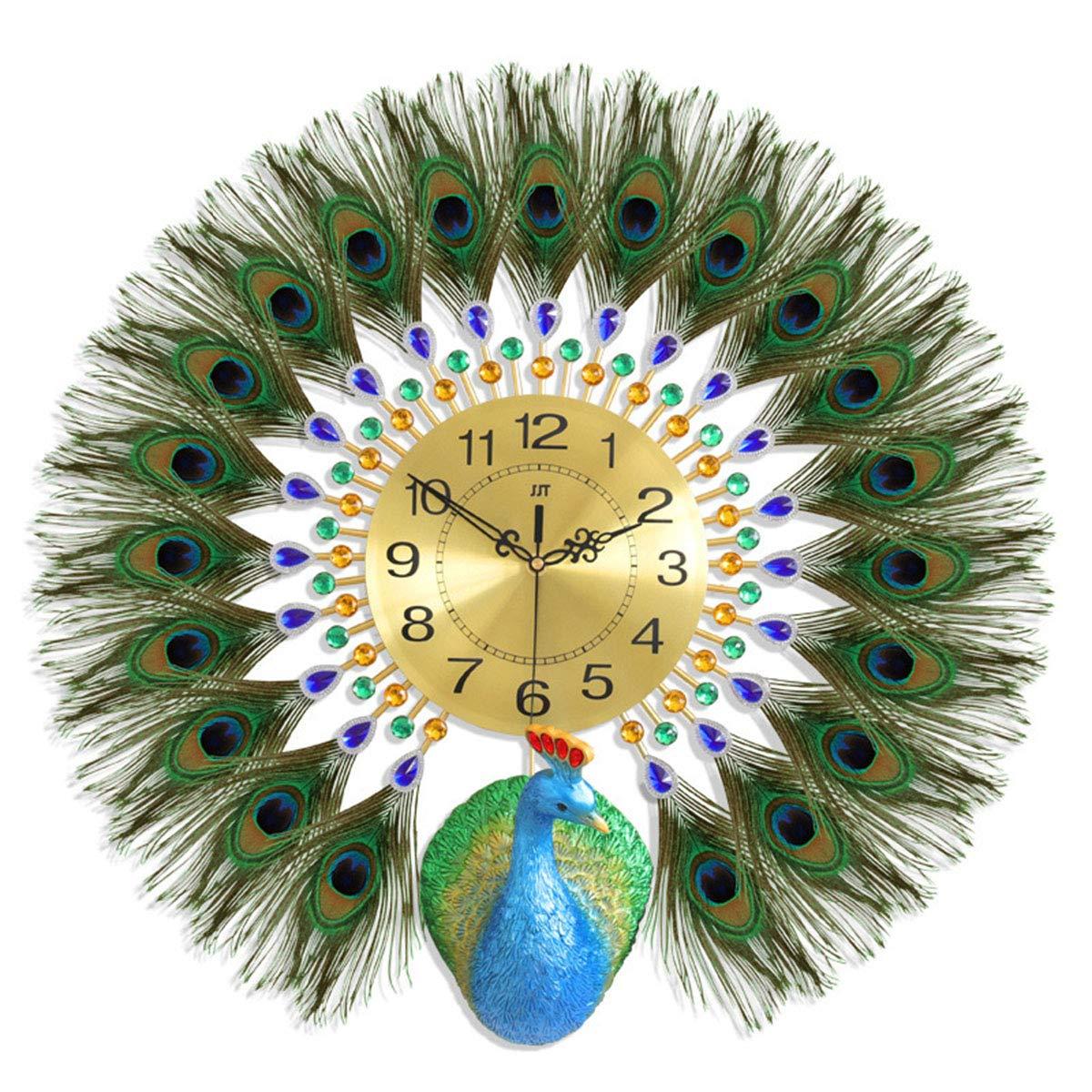 壁時計、現代の3D孔雀の羽のスタイリング時計クラシックファッションの家の装飾の壁時計の壁時計   B07SJ9T69G