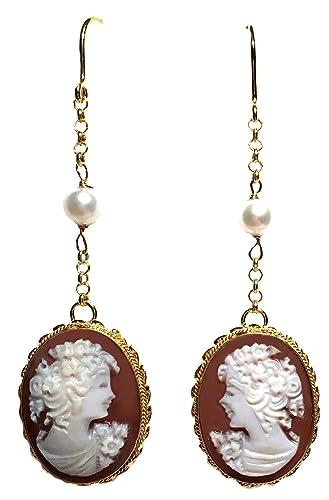 166dd68f5 Amazon.com: Cameo Earrings French Wire Dangle Pearl Insert Italian ...