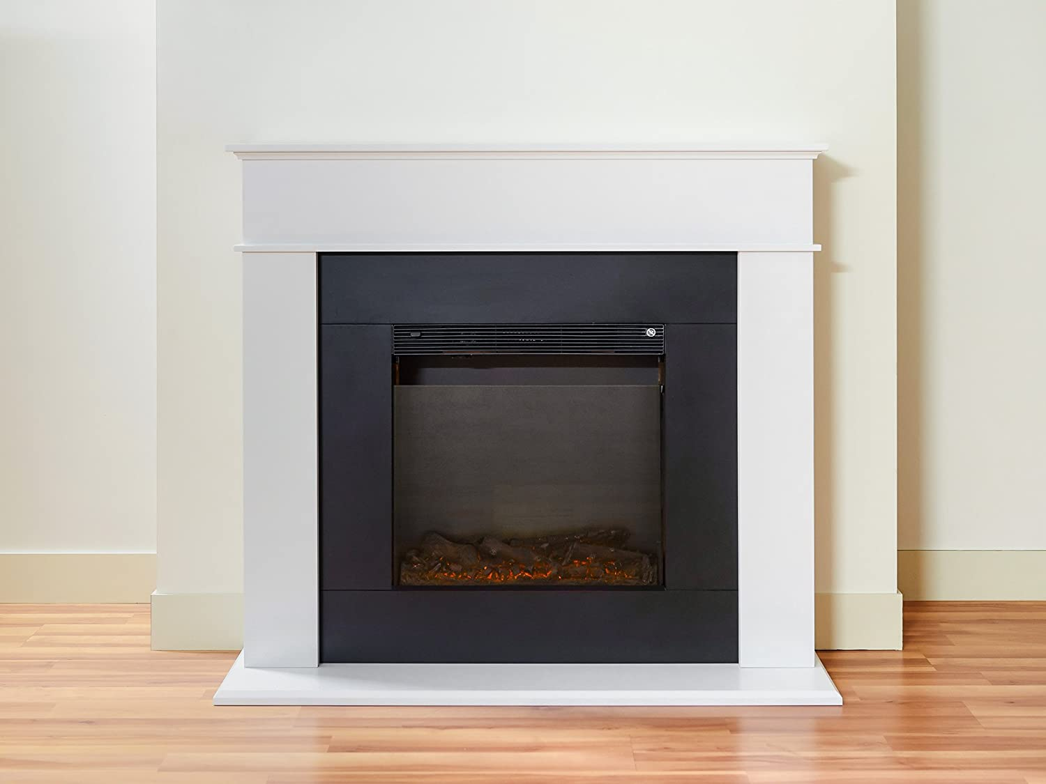 adam farrington fireplace suite with remote control pure white