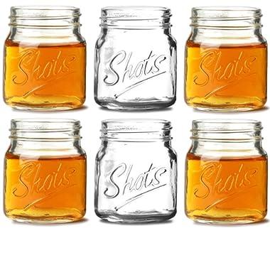 Circleware 42784 Mini Mason Jar Heavy Base Shot Glasses, Set of 6, Fun Party Home Entertainment Dining Beverage Drinking Glassware Tumbler Whiskey Coffee Espresso Liquor Bar Jello Cups, Script, 4.9 oz