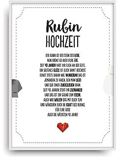 Personalisiert Zum 40 Hochzeitstag Rubin Hochzeit Andenken