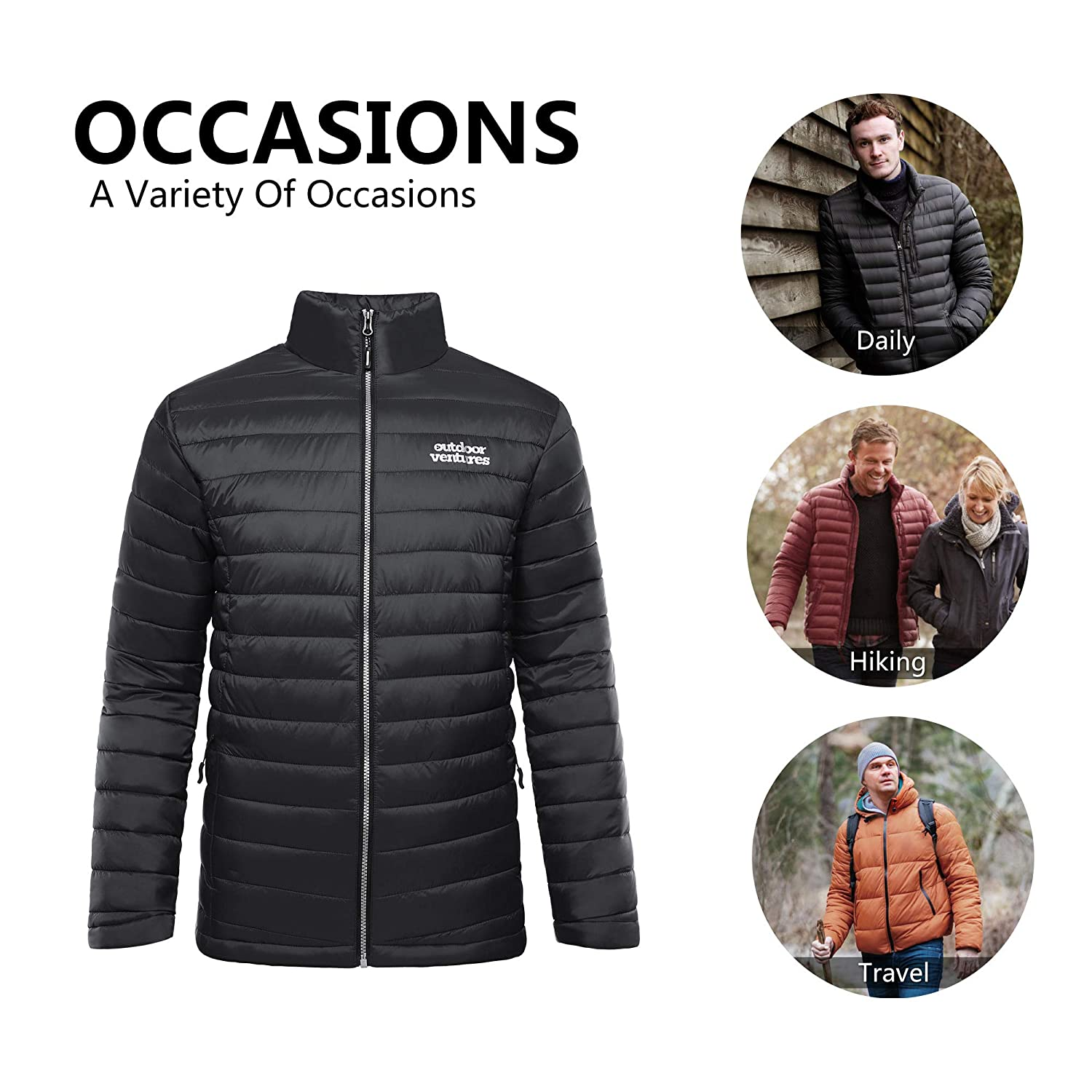 Outdoor Ventures Mens Insulated Jacket Quilted Outerwear Jacket Full Zip Water-Resistant Casual Winter Coat
