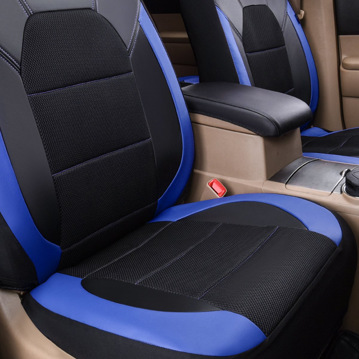 for Sedans 11PC, Black and Grey Trunkcs,Suvs CAR PASS Leather and Mesh Universal Car Seat Covers,Airbag Compatible