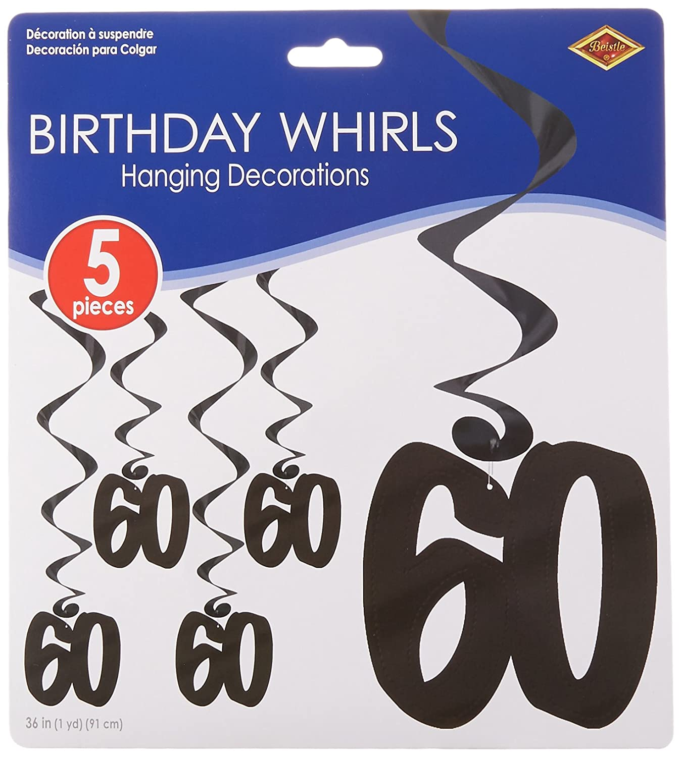 Beistle 57596-30 5-Pack 30 Whirls Party Decoration, 3-Feet The Beistle Company