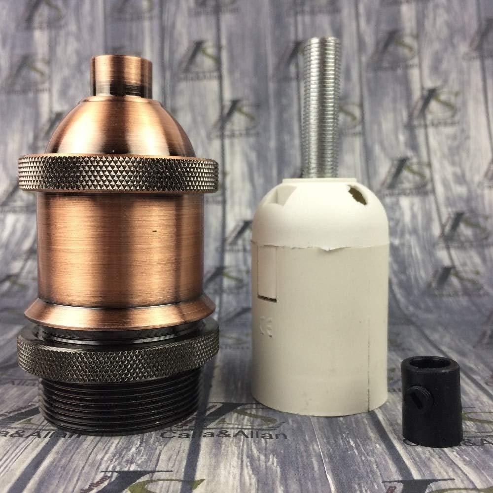 Lamp Base - 5pcs/lot Retro lampholder E26/27 vintage threaded lamp base socket edison screw bulb base E27 socket with shade ring lamp holder - (Color: antique copper brass)