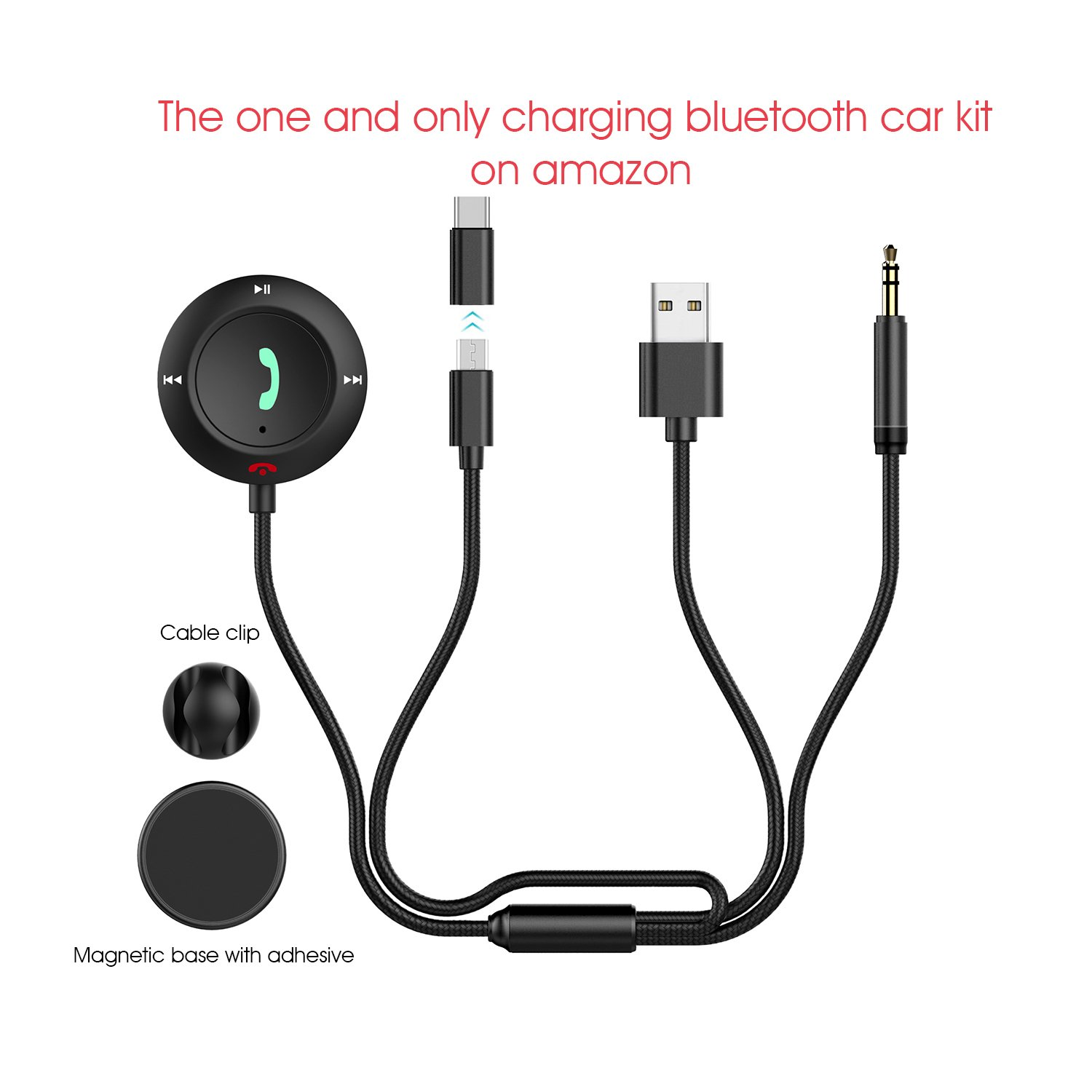 MiCar Bluetooth Charging Car Kit, Hands-free Wireless Phone Call & Bluetooth Aux Receiver with USB & Type C Charging Cable, Nylon 3.5mm Aux Input Cable, Built-in Mic for Car Home Stereo (USB+Type C)