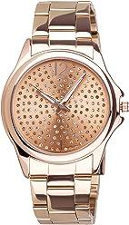 SIX Edelstahl Armbanduhr: Roségoldfarbene Damenuhr mit Gliederarmband, Ziffernblatt mit Strasssteinen, 3 Zeiger-Uhrwerk, rostfrei (274-359)