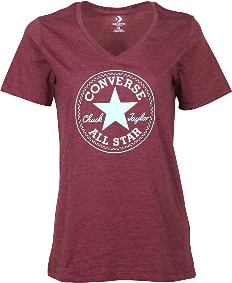 Converse Women's Chuck Taylor Core Patch V Neck T Shirt Heather Burgundy Medium