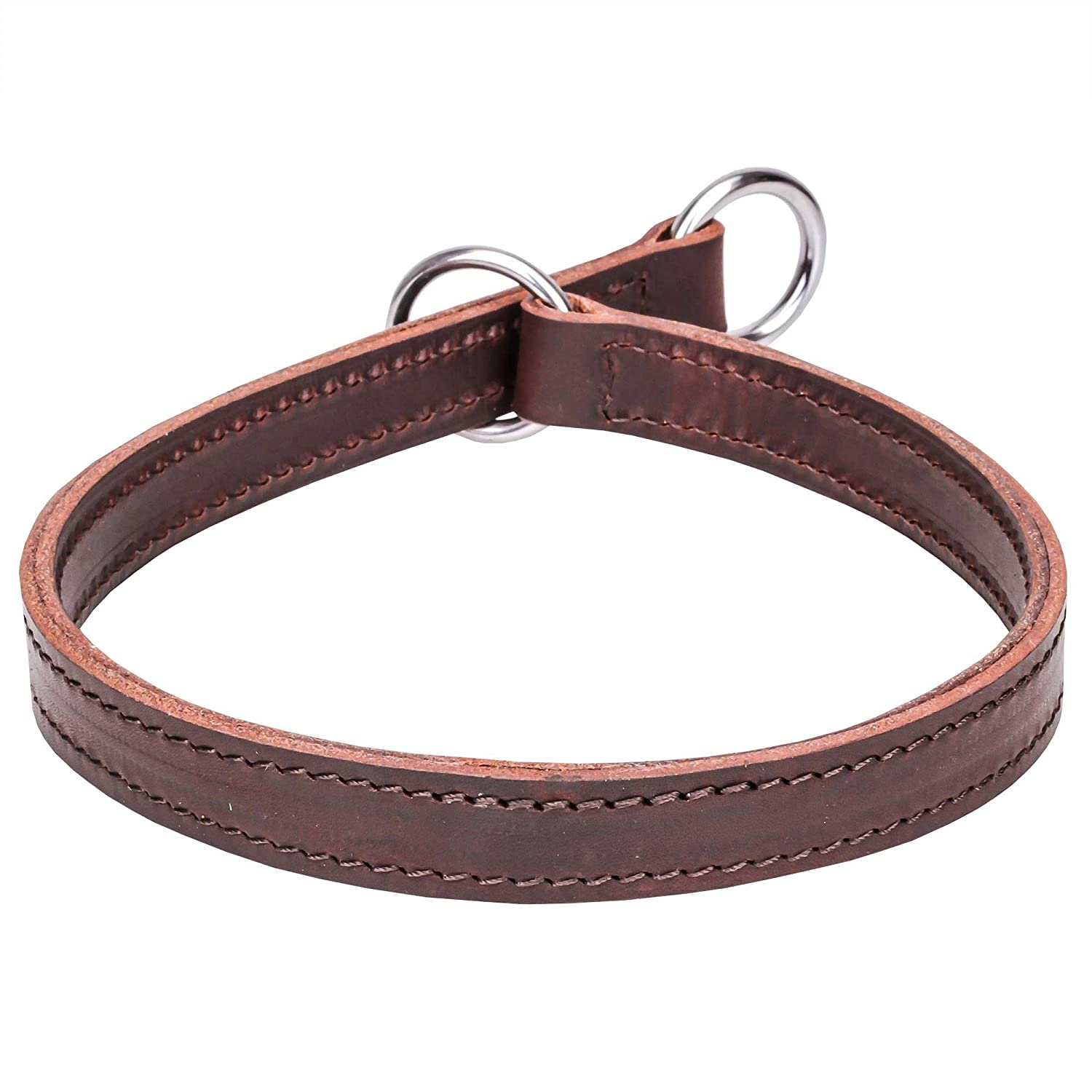 Brown fits for 30 inch dog's neck size Brown fits for 30 inch dog's neck size 30 inch 2 Ply Brown Leather Choke Dog Collar  Happy Trainer  for Obedience Training 1 inch (25 mm) wide