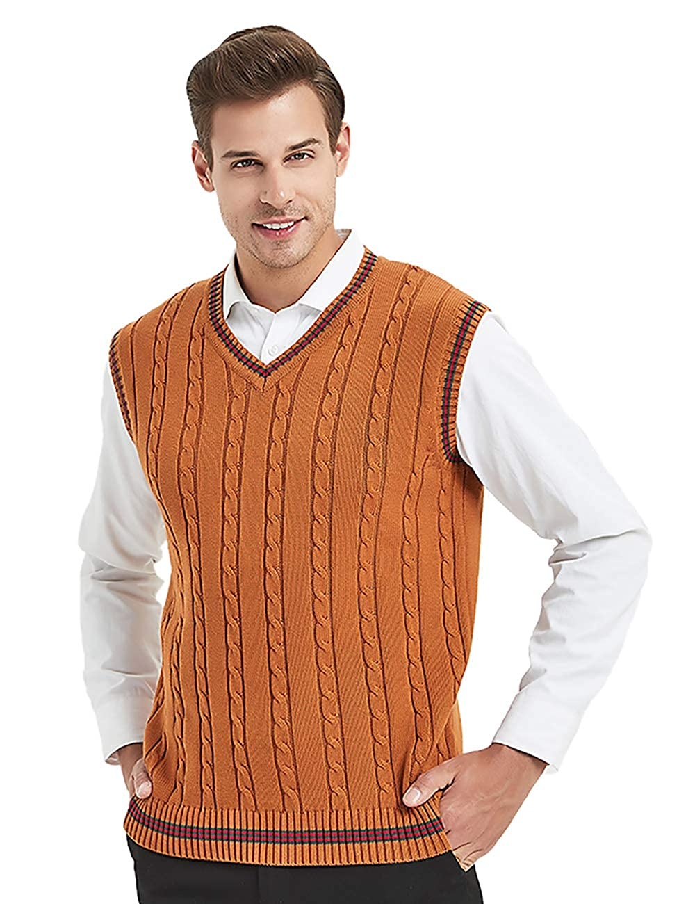 Men's Vintage Sweaters, Retro Jumpers 1920s to 1980s TOPTIE Mens V-Neck Cotton Twist Knit Sweater Vest Green and Red Trim $17.99 AT vintagedancer.com