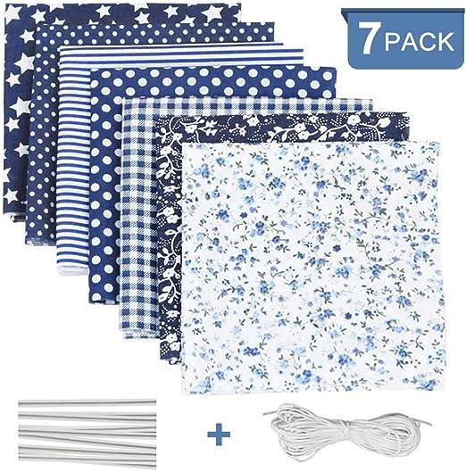 Tela algodon para coser 7 PCS, DIY Floral Telas Patchwork Material Cuadrados con Cuerda Elástica Puente de la Nariz Clip Tira, Tela por metros Manualidades para ...