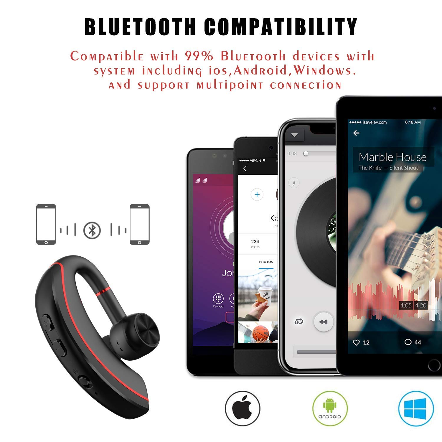 Bluetooth Headset Wireless Business Bluetooth V4.2 Earpiece Ultralight HD Headphones Hands-Free Earphones with Noise Cancellation Microphone Wide Compatible with Cell Phones for Office/Work Out/Truck