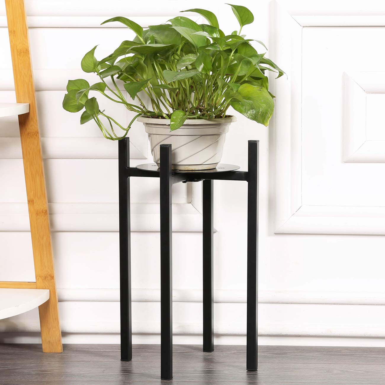 Sunnyglade Plant Stand for Indoor and Outdoor Pots - Black, Metal Potted Plant Holder for House, Garden & Patio - Sturdy, Galvanized Steel Pot Stand with Stylish Mid-Century Design, Medium (15'' High)