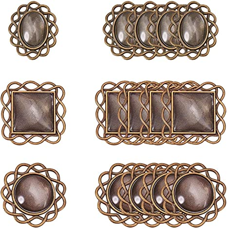 6pcs Pack Antique Blank Metal Glass Cabochon Setting Tray Bezel Pendants Charms