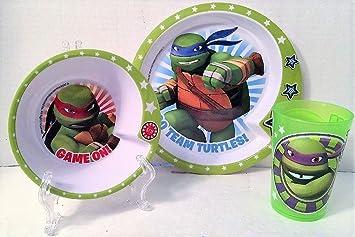 Nickelodeon Teenage Mutant Ninja Turtles Mealtime 3 Piece Set Including Plate Bowl and Cup & Amazon.com | Nickelodeon Teenage Mutant Ninja Turtles Mealtime 3 ...