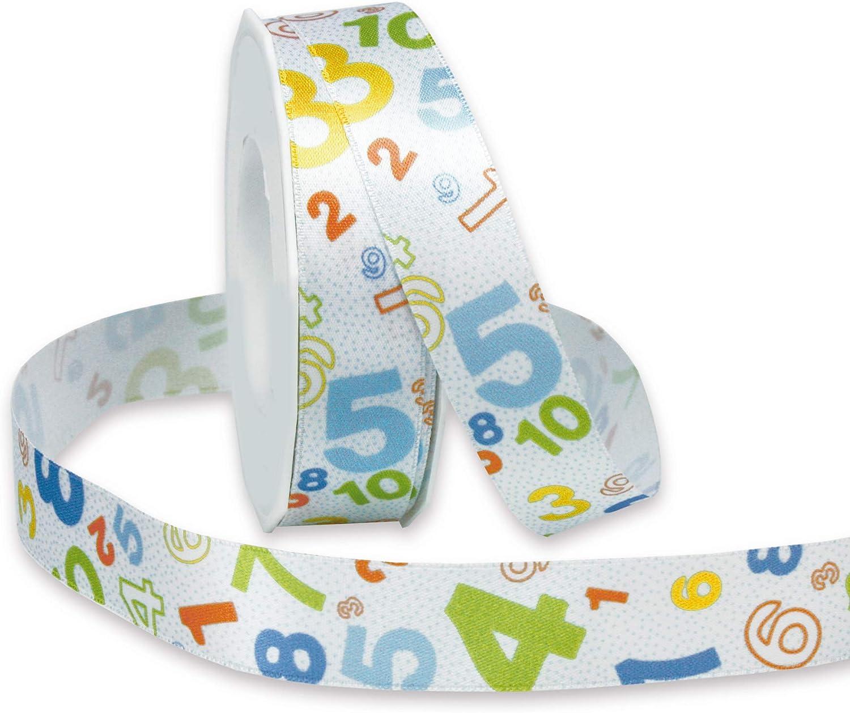 Satinband Geschenkband Schleifenband Schule Kinder Bedruckt mit Ziffern 0,83/€//m finemark Dekoband Numbers HELLBLAU 3 m x 25 mm