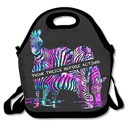 Amazon Com Simple Rainbow Zebra Drink Water Think Thrice Warm Pouch